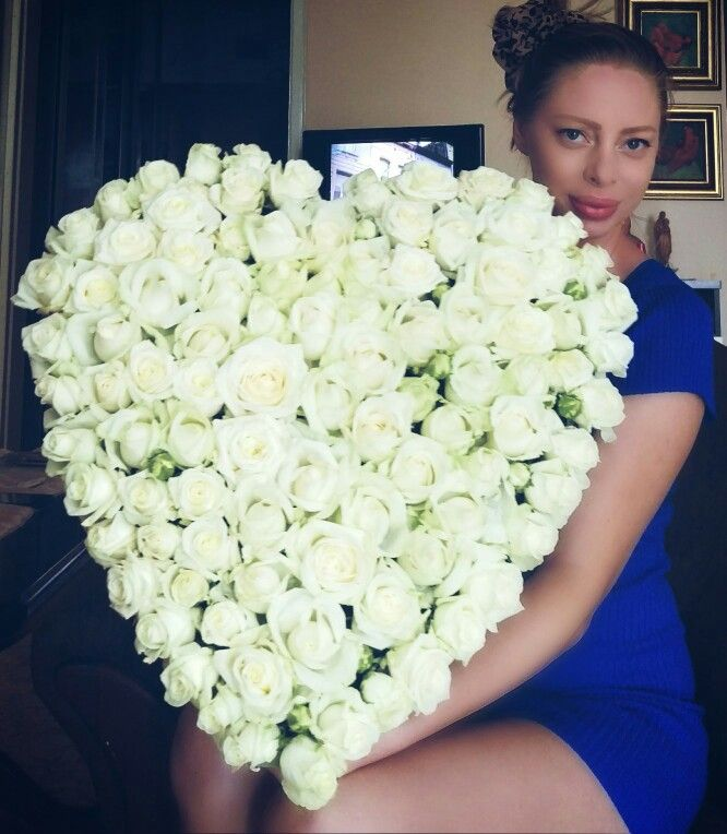 White roses huge bouquet