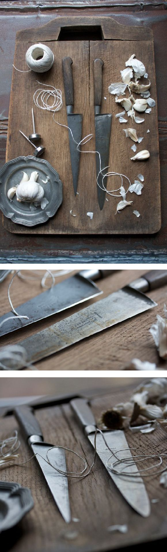 Antique Chefs Knives and Cutting Board