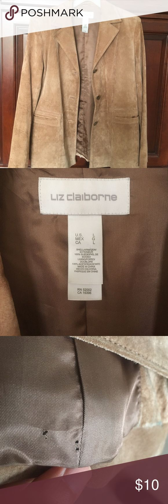 Liz clairborne siede blazer 100% suede...Has  an inside hole from previous dry cleaning tag as seen on pics and pen mark at the back...needs to be dry cleaned again maybe they can remove the pen mark. Price reflects 😭 Liz Claiborne Jackets & Coats Blazers