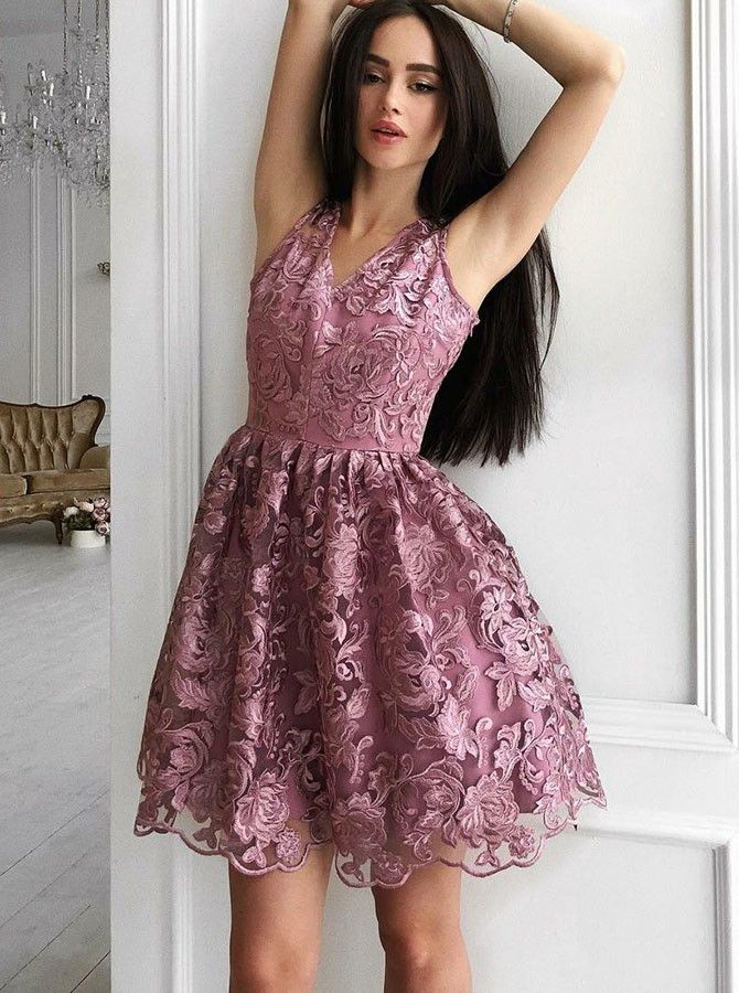 85ef9d9d396 A-Line V-Neck Sleeveless Short Homecoming Party Dress  purple  lavender   dresses  women  girl  party  grace  lacedress