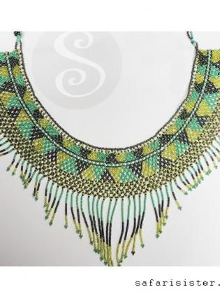 Green Layered & Multi-Strand - Garden of Palenque Peyote Stitch