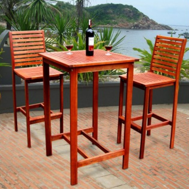 3 Piece Dartmoor Indoor Outdoor Bar Pub Dining Patio Garden Furniture Set  Wood This Wood Be Nice On The Deck