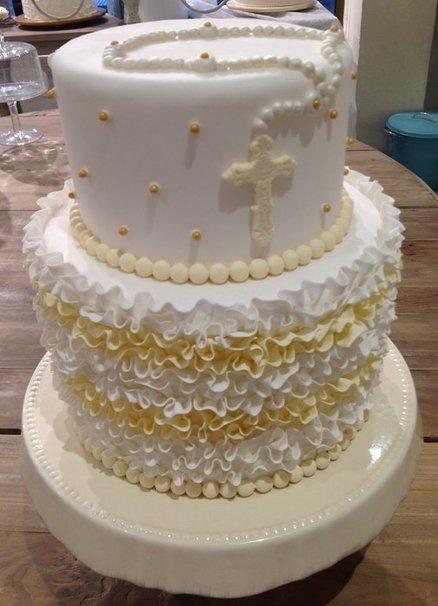Ruffle Holy Communion cake