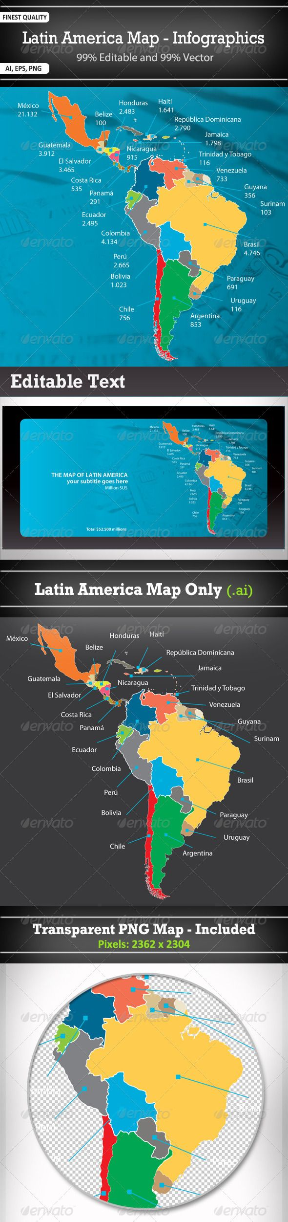 South America Map Borders%0A Latin America Map  Infographics
