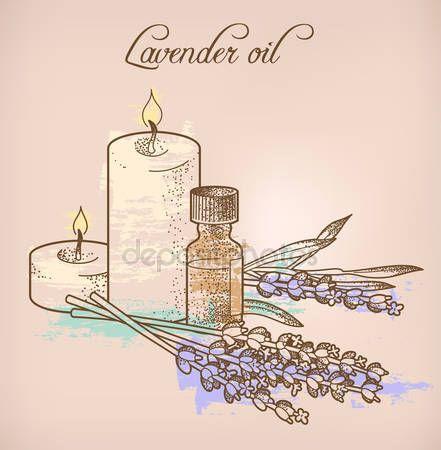Levandulová silice a svíčky — Stocková ilustrace #68871149
