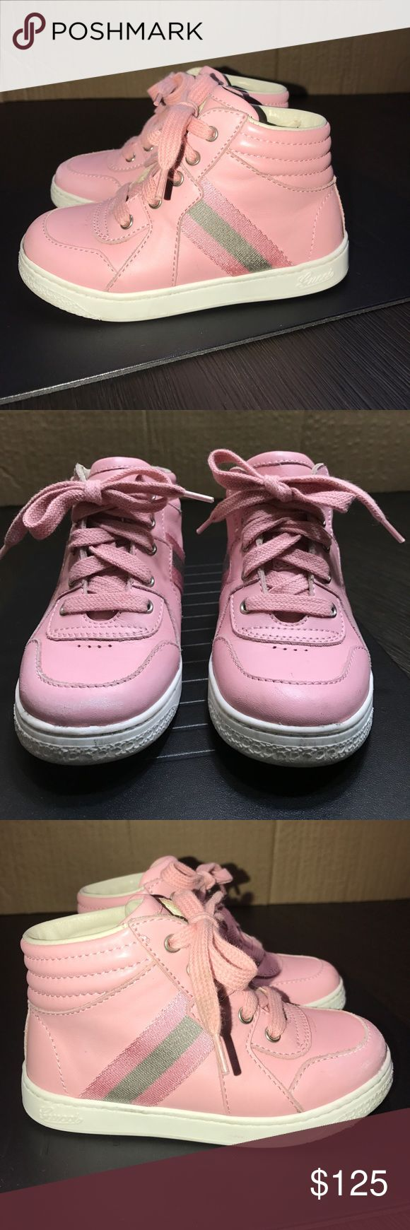 Gucci girl toddler pink tennis shoes sneakers 8 Authentic Gucci Signature toddler girls pink leather high top tennis shoes sneakers sz 8 Euro 24 . Very good condition light wear light scuffs Gucci Shoes Sneakers