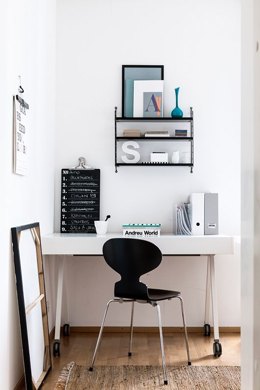 White Workplace + string shelves