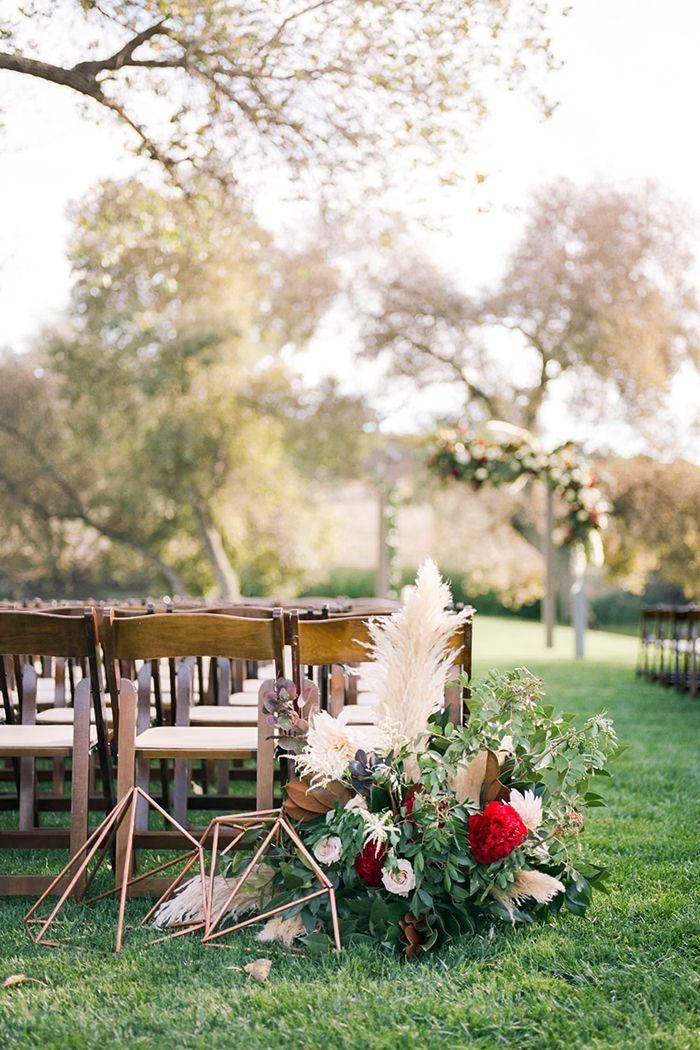 Modern Metallic and Floral Wedding Ceremony Aisle Decor    #wedding #weddingideas #weddings #colorpalette #red #redwedding #neutrals #weddingceremony #floraldesign #aisledecor