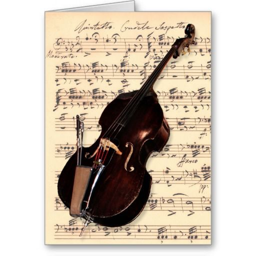 Card - Double Bass with hand written sheet music | Zazzle.com | Double bass, 18th birthday cards, Sheet music