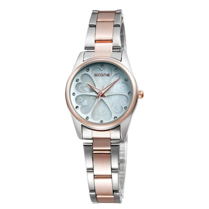 Cheap SKONE Pretty Heart Shape Flower Dial Alloy Watchband Rhinestone Online | Tomtop  #women #men #fashion #jewelry #watches