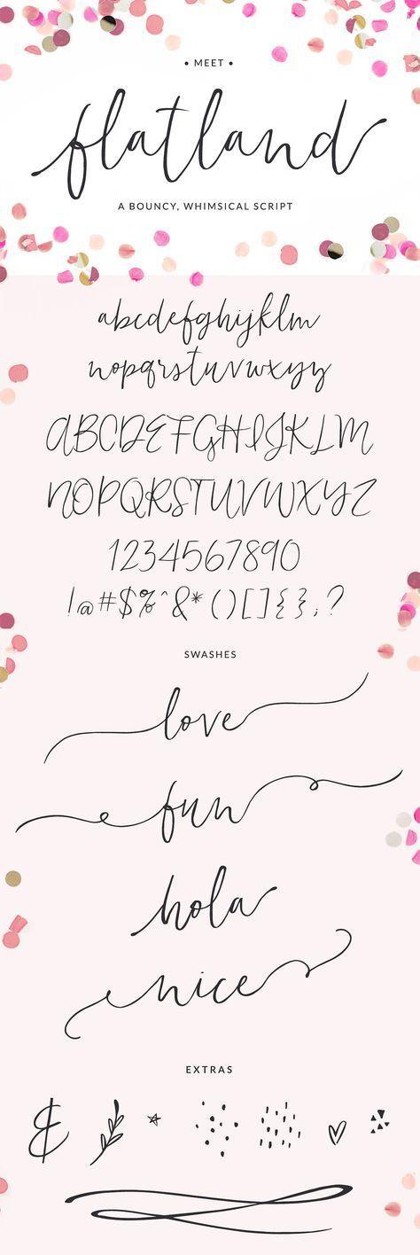 Flatland Schriftart   Eine bouncy, wunderliche Skriptschriftart mit einer modernen Kalligrafi …  #bouncy #einer #flatland #modernen #schriftart #skriptschriftart #wunderliche – diytattoo