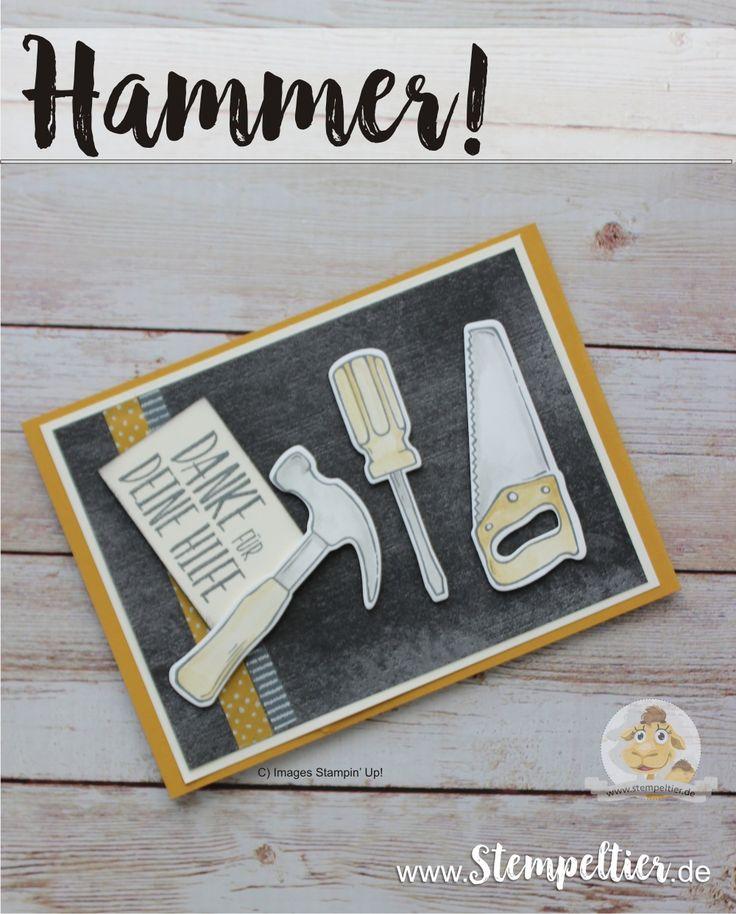 stampin up hammer werkzeugkasten tollbox säge heimwerker diy danke für hilfe ikea baumarkt stempeltier toolbox