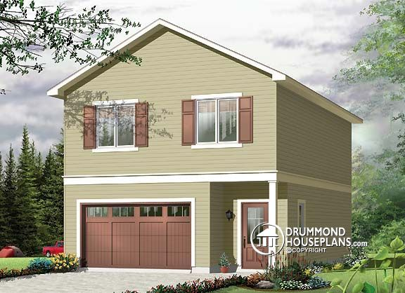 House plan W3954-V1, 1042sq. ft. garage with house option above ! Lovely #Cozy