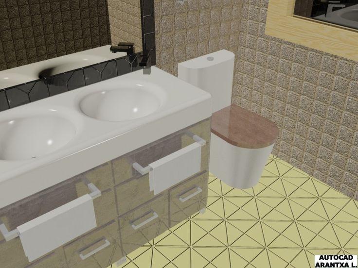 Vista de un detalle del baño, lavamanos con toallas