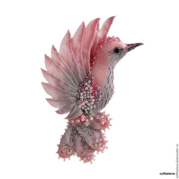 Купить Брошь-колибри «Розовый восход».Праздничная серия.Текстильная птичка. - брошь птица