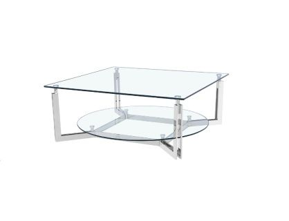 The Pluto Coffee Table is made of tempered glass top with stainless steel frame.                     Size: 100x100x40.5 cm  9.4x39.4x15.9 inches  Contact us for pricing