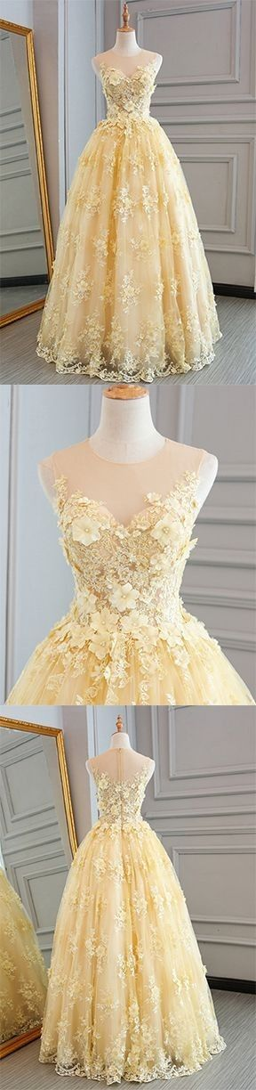 #Yellow #Chiffon #Tulle #Dresses #Gowns #Prom #PartyDress #EveningWear