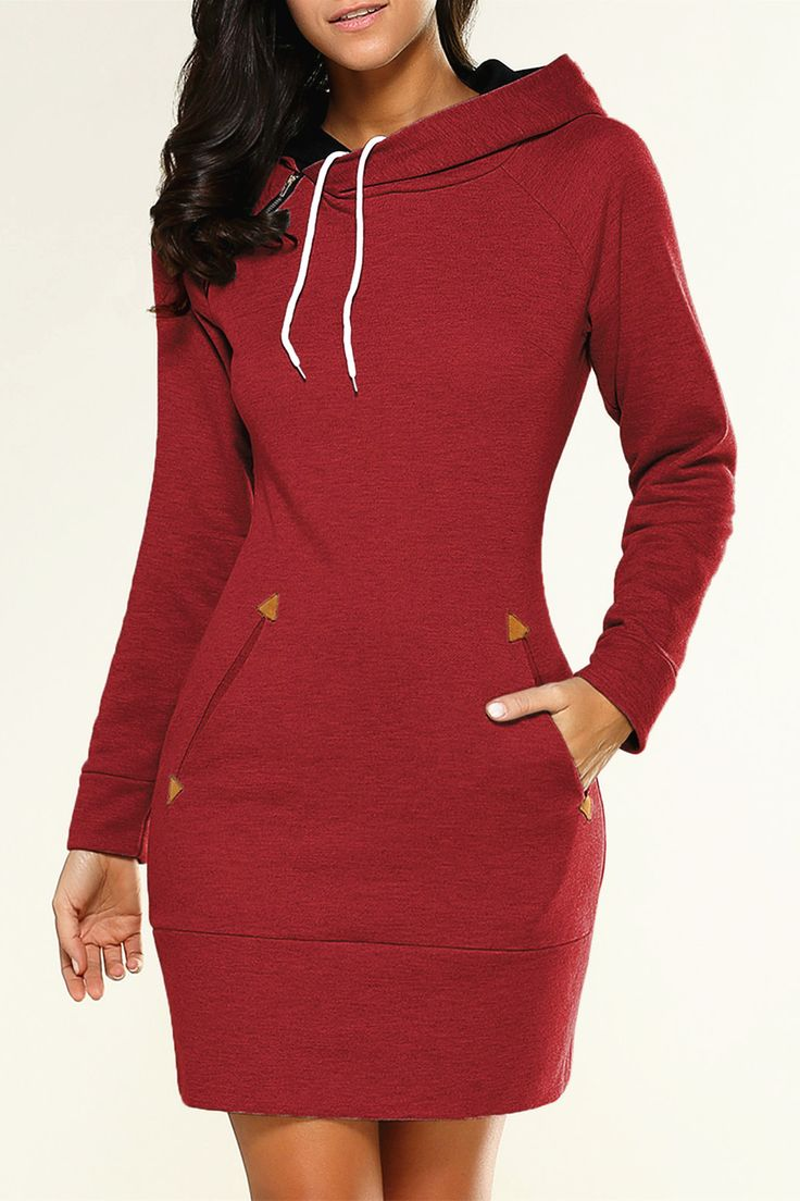 $18.89 Long Sleeve Mini Hoodie Dress