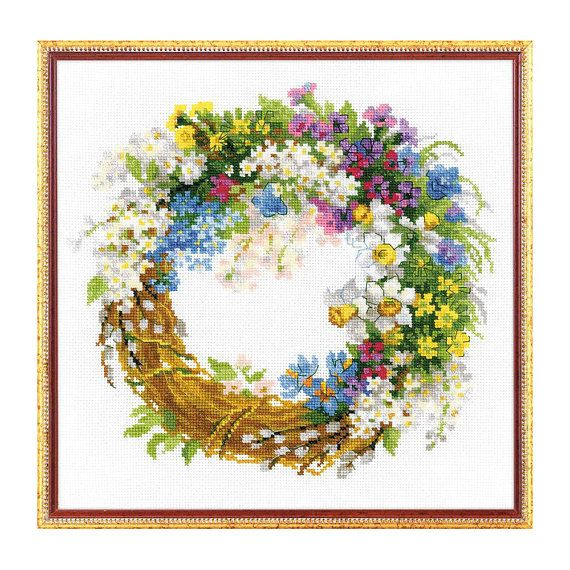Counted Cross Stitch Kit  Wreath with bird-cherry Riolis