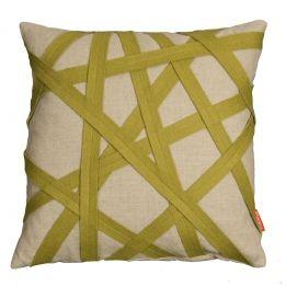 Linen Cushion With Green Felt Binding