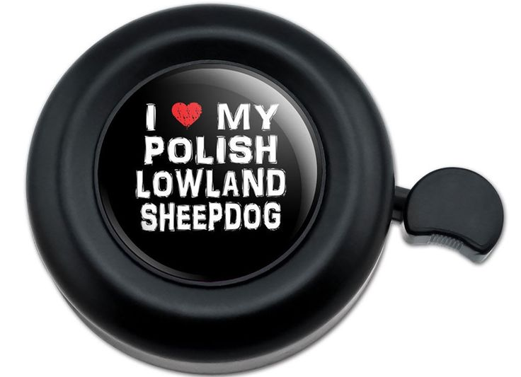 Amazon.com : Cool and Custom {Fully Adjustable to Fit Most Bikes} Bicycle Handlebar Bell Made of Hard Metal with Modern Heart I Love My Polish Lowland Sheepdog Design {Black, Red & White Colors} : Sports & Outdoors