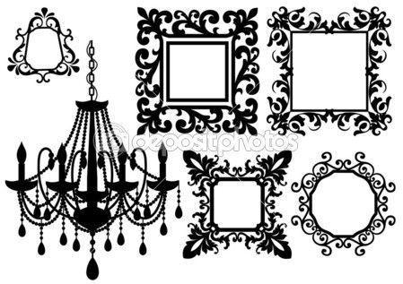 victorian frame tattoo | Picture frames and chandelier, vector | Stock Vector © beaubelle ...