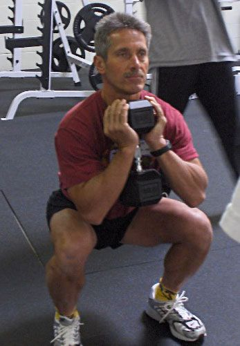 Anyone looking to squat should honestly spend 6-8 weeks just working goblet squats.  Nothing I have ever done teaches and reinforces proper squatting form like these - you are forced into it, and it carries over well.  And honestly, for men at least if you can knock a few sets of 10 or so with a 100 pound dumbell you've built enough of a base to hit other squat variations well and not worry about your back and torso handling it.