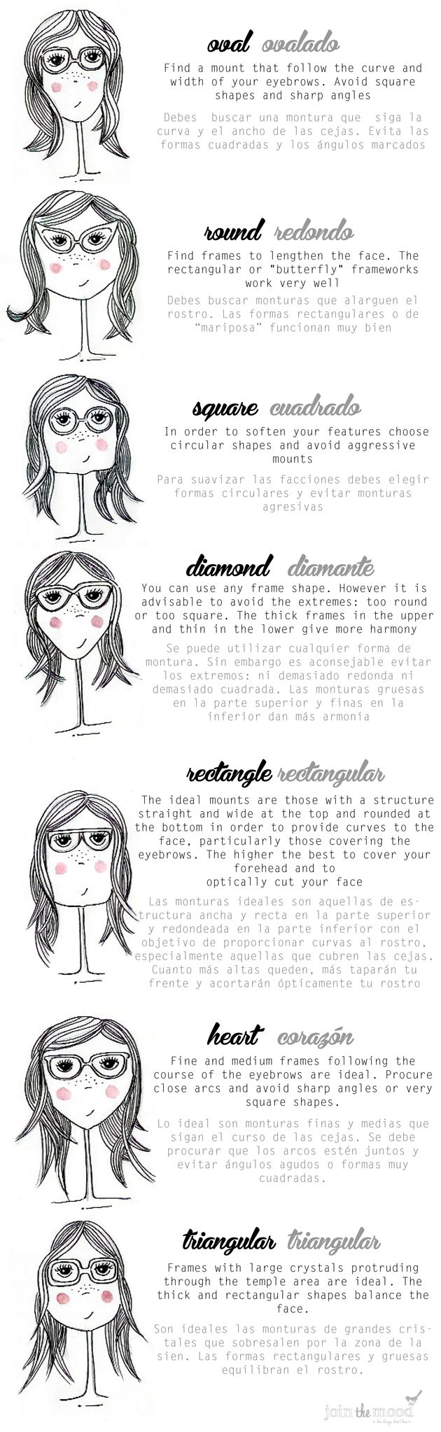 WHAT KIND OF GLASSES YOU MUST USE ACCORDING TO YOUR FACE SHAPE? / QUE TIPO DE GAFAS USAR SEGÚN LA FORMA DE TU ROSTRO?