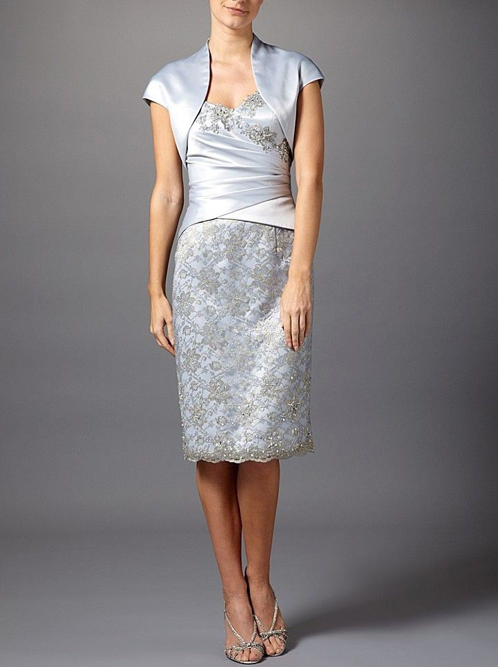 Short Sleeve Lace Satin Silver Jacket Mother of the Bride Dresses