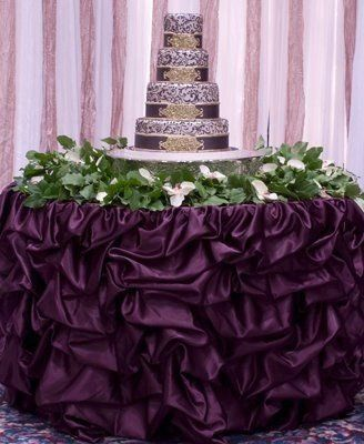 Romantic Gathered Plum Table Skirt by www.BellaAngelEventDecor.com