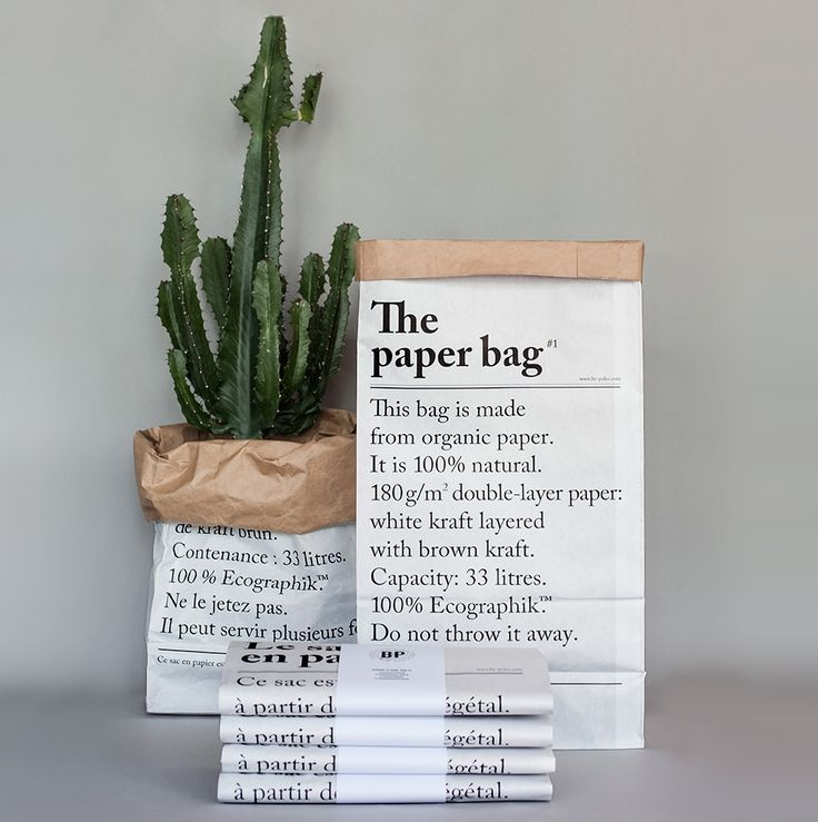 This striking Paper Bag is made from heavyweight recycled Kraft Paper, it can be used as a waste paper bin, storage bag, planter etc. Le Sac En Papier translates literally as 'The Paper Bag' and is designed in Paris with lettering in French on one side and English on the reverse. Simply pop a container inside when using as a bin or planter and you will protect the paper.