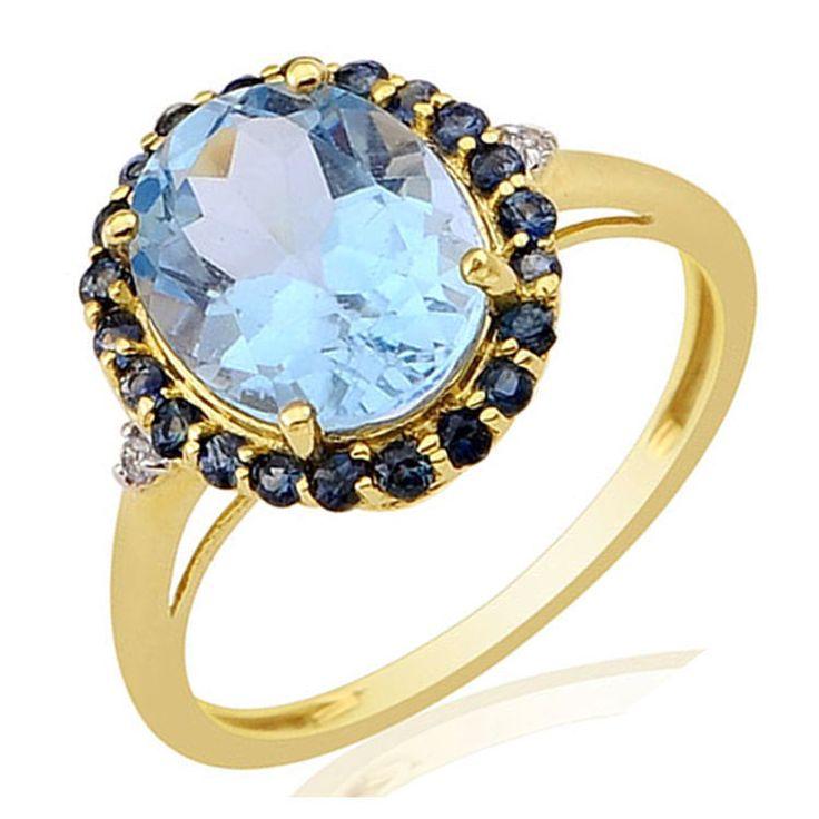 SKY BLUE TOPAZ 2.1 CT BLUE SAPPHIRE GEMSTONE & DIAMOND RING IN 10 KT YELLOW GOLD