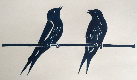 Swallow talk  Lino Print by LinoPrintDesign on Etsy