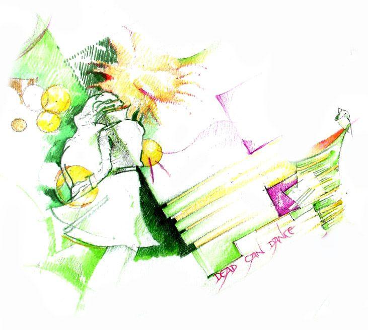 Green Detail - Dead Can Dance Sketch by Harry Papaioannou
