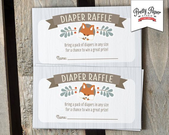Diaper Raffle Cards - Woodland Baby Shower // INSTANT DOWNLOAD // Fox Baby Shower Game // Baby Boy // Blue // Printable Digital DIY