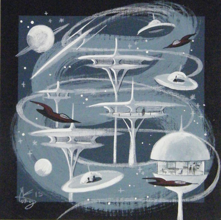 EL GATO GOMEZ PAINTING MCM MOD FUTURISTIC ARCHITECTURE 1960S SPACE ROCKET SHIP