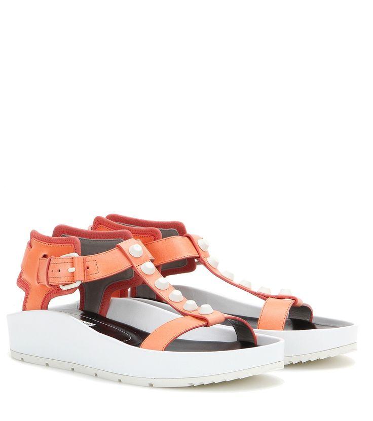 Orange-weiße Ledersandalen Classic Strap T Bar By Balenciaga