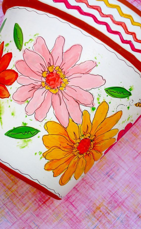Hand Painted Flower Pot 6 Inch Zinnia Fiesta in by ThePaintedPine, $25.00