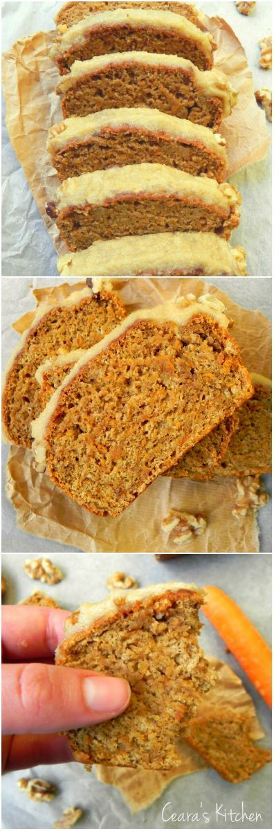 This Healthy Vegan Carrot Cake w/ Cinnamon Cream Cheese Icing is soft, moist + delicious!