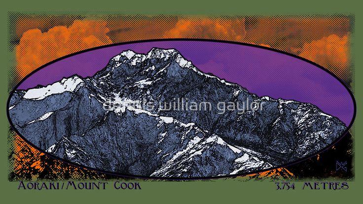 aoraki / mt. cook 3,754 metres - aotearoa new zealand - [custom poster & tee design by dennis william gaylor] .:: watersoluble ::.