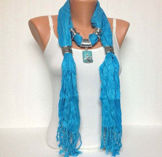 Turquoise jewelry scarf