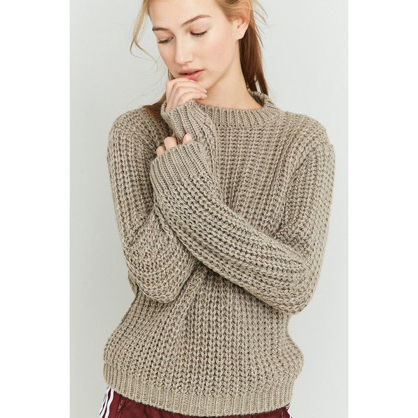 BDG Wide Ribbed Fisherman's Jumper (€53) ❤ liked on Polyvore featuring tops, sweaters, beige, long sleeve tops, knit crew neck sweater, long sleeve sweater, brown crew neck sweater and beige knit sweater