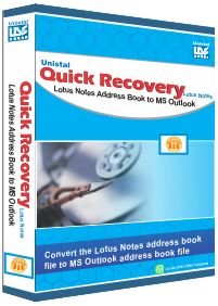 Lotus Notes Contacts to Outlook conversion easily convert nsf address book to ms outlook. Unistal Quick Recovery for Lotus Notes Address Book to Outlook is safe and secure nsf address book conversion tool for lotus notes user. Switch Lotus Contacts to Outlook easily by using QR for Lotus Notes Contacts to Outlook converter