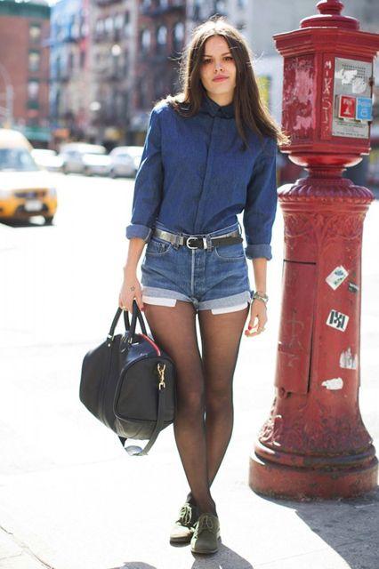 Reaproveitando as peças do verão no inverno: Short com meia calça!