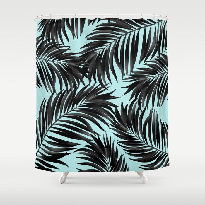 Buy Palm Tree Fronds Black On Cyan Hawaii Tropical Shower Curtain By  Sharonmau. Worldwide Shipping