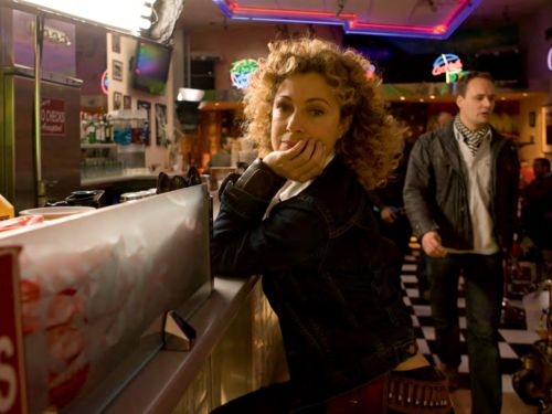 Alex Kingston on location at Eddies Diner in Mermaid Quay Cardiff for The Impossible Astronaut