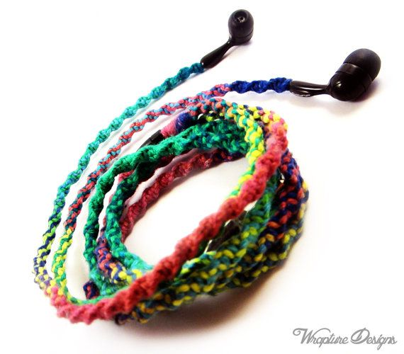 This is great!!! I need these - Wrapped Earbuds / Tangle Free Headphones  by WraptureDesigns, $28.00