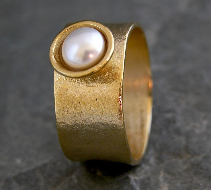 CHRISTMAS GIFT, Classic Pearl Ring,Gold Pearl Ring,Mabe Pearl Ring