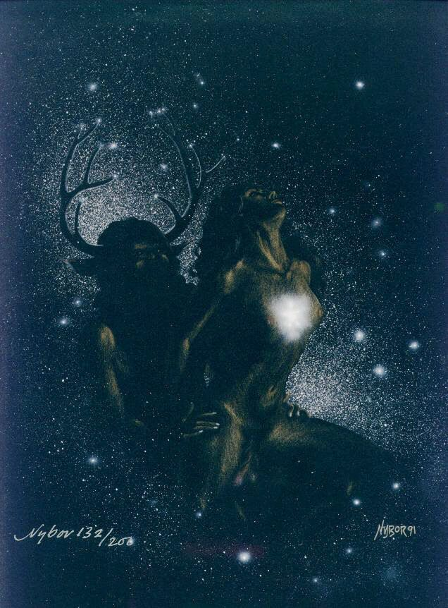 The GreenmanCernunnos/Herne the Hunter...God and Goddess Creating the Universe...By Artist Nybor...