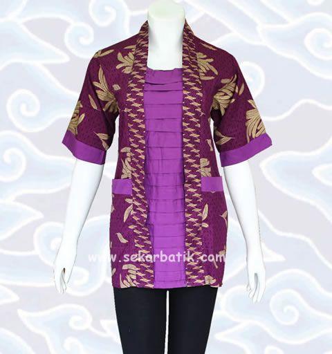 baju blus batik kerja ungu BB30 koleksi lengkap di http://sekarbatik.com/blus-batik/